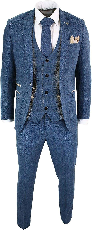Mens Slim Fit Blue Tweed Herringbone Wool Wedding Suits 3 Pieces Blazer Vest Pant