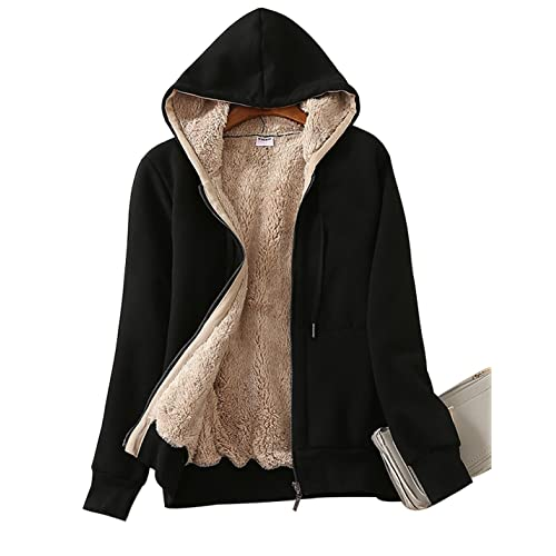 Men Fleece Hoodie Fur Lined Zipper Hooded Sherpa Fur Thick Hoodies Jacket Zipper