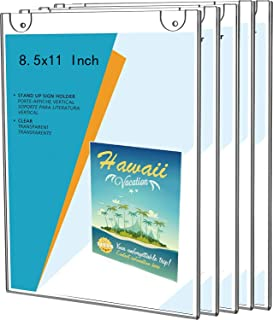 5 Pack Wall Mount 8.5x11 Acrylic Sign Holder,8 1/2 x 11 Clear Wall Mount Frame,Perfect for Office,Store,Restaurant,by Cq acrylic