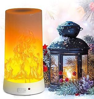 PDGROW - Lámpara LED con forma de llama, recargable, con USB, resistente al agua, con base magnética y ganchos de metal para Navidad, fiestas, interiores y exteriores