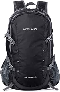 NODLAND Light Weight Backpack, 40L Foldable Water-Resistant Daypack, Reflective Stripe Hiking Outdoor Camping Backpacks for Men and Women, Large Capacity Black