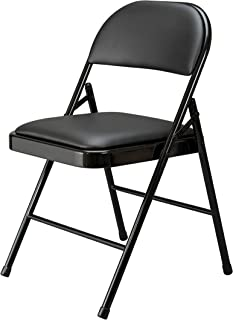 OFM Essentials Collection Multipurpose Padded Metal Folding Chair, Pack of 4, in Black (ESS-8210-BLK)