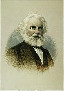 ヘンリー・ワズワース ロングフェロー N(1807-1882) アメリカンポエット カラーラインとスティップル 彫刻 19世紀 ポスター プリント (18 x 24)