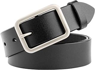 52bfc327fcd6a Women Leather Belt for Jeans Pants Dresses Black Ladies Waist Belt with Pin  Buckle