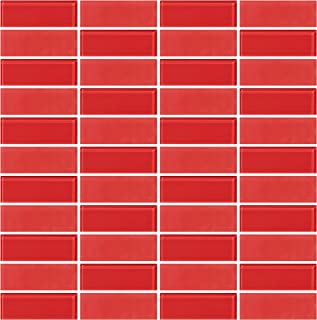 Box 10 Tiles Red Glass /& Marble Mosaic Tile 12x12 CORSICA-MX015 10