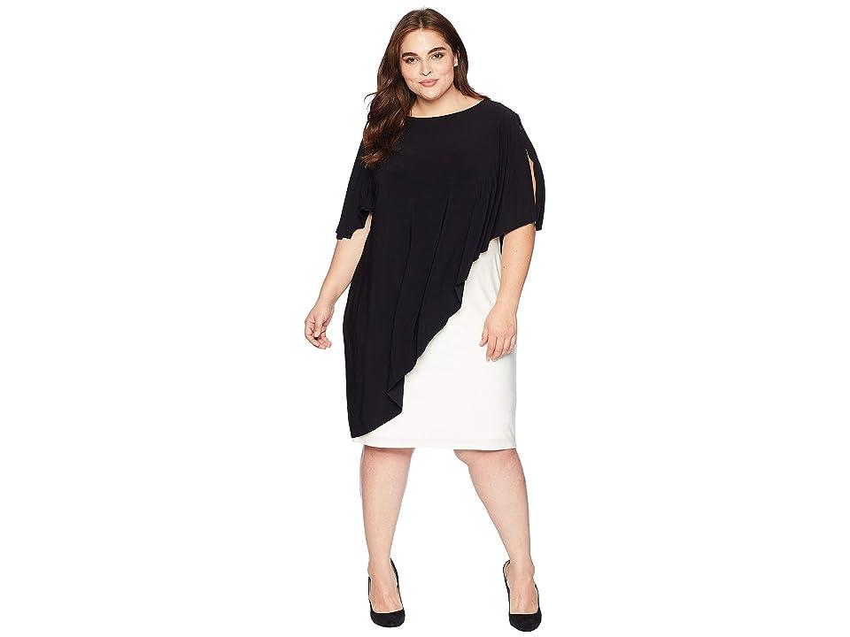 LAUREN Ralph Lauren Plus Size Matte Jersey Naila Short Sleeve Day Dress (Black/Colonial Cream) Women