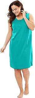 Women's Plus Size Sleeveless Henley Sleepshirt