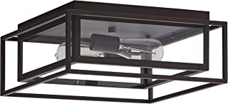 Stone & Beam Industrial Rectangle Cage Flush Mount Exterior Ceiling Fixture With 2 Light Bulbs - 15.25 x 15.25 x 6.5 Inches, Oil-Rubbed Bronze