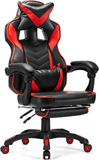 Reclining Gaming Chair Memory Foam, Kealive Ergonomic Office Chair with Headrest and Lumbar Support Retractable Footrest, Adjustable Height Executive Chair, PU Leather Swivel Racing Chair