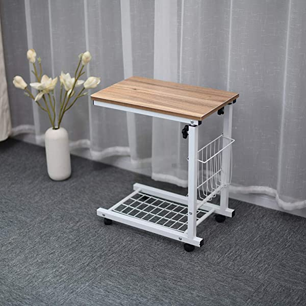 Sodoop Lift Computer Table Height Adjustable Overbed Bedside Table Sofa Side Table Wheel Mobile Laptop Desk With Storage Basket For Small Spaces Snack Table For Living Bed Room