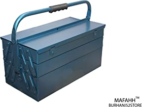 MAFAHH 5 Compartments 4 Trays High Grade Metal Tool Box with Handle for Home Garage Hand Tools Machine Tools Hammer Drill Machine Nuts Screw Driver for Kg Weight Suitable for 12 KG Tools [ Blue ]