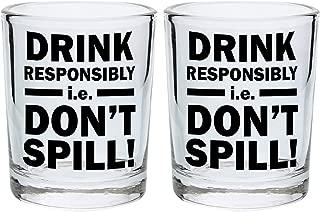 Funny Shot Glasses for College Drink Responsibly Don't Spill Drinking Games Shot Glass Gift Shot Glasses 2-Pack Round Shot Glass Set Black