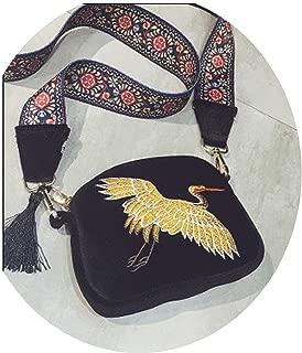 Fashion Girl Mini Shell Shouder Bag Velvet Tassel Clutch Bag Embroidered Cranes Birds