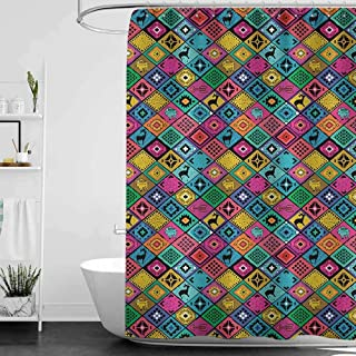 hengshu Southwestern Waterproof and Colorful Shower Curtain Patchwork Style Pattern in Hand Drawn Style Symbols and Patterns Boho Hippie Polyester Shower Curtain Bath Shower W63 x L72 Inch Multicolor