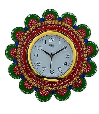 eCraftIndia Sublime Round Handcrafted Papier-Mache Wall Clock (22.5 cm x 2.5 cm x 22.5 cm)