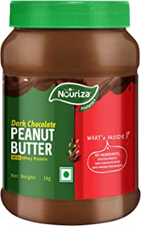 Nouriza Dark Chocolate Peanut Butter Spread with added Whey Protein, 1 Kg