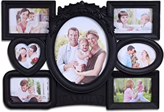 Magnificent Black Collage of 7 Photo Frames with Quote Frame - 7 Photo Frame Wall Collage