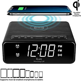 iLuv Wireless Charging Alarm Clock Radio with LED White Display, Dual Alarm,Qi-Certified, Compatible iPhone 11, 11 Pro, 11 Pro Max, XR, XS Max, XS, X, 8, 8 Plus, Samsung Galaxy S10 S9 S8, AirPods 2G