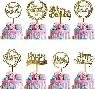 6 بسته طلا تولدت مبارک کیک شیرین ry کیک شیرین اکریلیک برای دکوراسیون مهمانی ، تولد کیک کیک ، لوازم تزئین کیک تولد