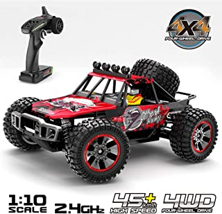 1:10 Scale Large RC Cars,46KM/H High Speed All Terrain Off-Road Buggy.4x4 Waterproof Electric Vehicl/Trucks, 2.4 GHz Radio Controlled,Alloy Differential/Ball Bearings/Oil Pressure Shock Absorber
