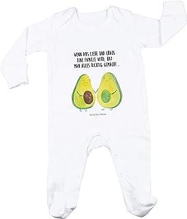 Mr. & Mrs. Panda Neugeborenes, Geburt, 6-12 Monate Baby Strampler Avocado Pärchen mit Spruch - Farbe Weiß