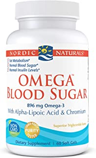 Nordic Naturals Omega Blood Sugar, Lemon - 60 Soft Gels - 896 mg Omega-3 + Alpha-Lipoic Acid & Chromium - Metabolism, Norm...