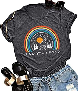 Find Your Road Rainbow T-Shirt Women Funny Letters Print Short Sleeve Graphic Tees Tops