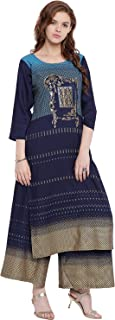 PINKY PARI SCREEN PRINTED RAYON BLUE STRAIGHT FESTIVE KURTA WITH PRINTED RAYON PALAZZO