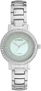 Citizen EL3040 55L Stone Embellished Bezel Round Stainless Steel Watch for Women