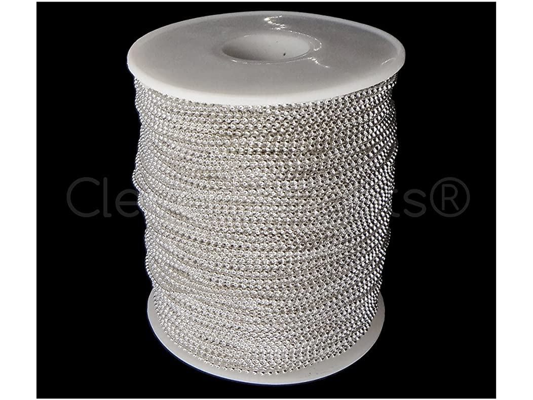 CleverDelights Ball Chain Spool - 330 Feet - 1.5mm Ball (Small) - Shiny Silver Color - Bulk Roll