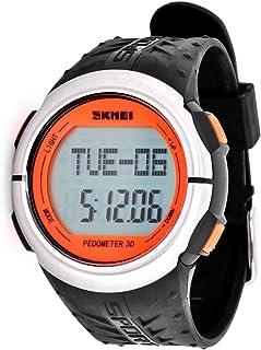 DSstyles Reloj Hombre 5 ATM Resistente al agua Reloj deportivo con medición de ritmo cardíaco Pedometer Cronómetro - Naranja