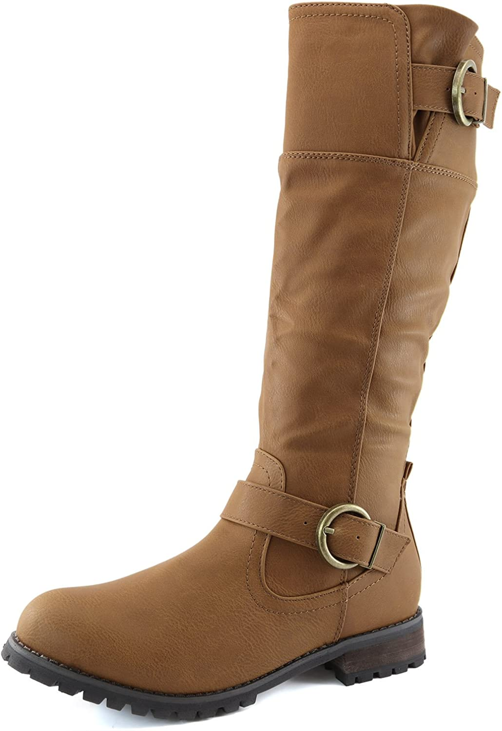 DailyShoes Women's Double Buckle Military Combat Boots Side Zipper Fashion Shoes