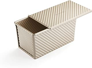 Pullman Moule à pain avec couvercle pour pain ondulé avec couvercle 450 g en alliage doré (21,5 x 12,3 x 11,4 cm)