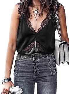 Women's Sexy Silk Tank Top Lace V Neck Loose Sleeveless Blouse Satin Cami Shirt