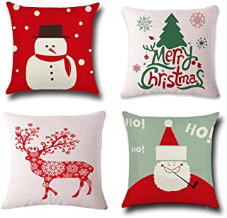 Christmas Pillow Covers 4 Pack,BPFY Print Snowman,Christmas Tree,Christmas Deer,Santa Claus, Merry Christmas Decorative Sofa Throw Pillow Case Cushion Covers 18 X 18 Inch,Cotton Linen
