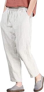 Helisopus Donna Elastico Vita Casual Rilassato Loose Fit Cotone Lino Pantaloni Harem Pantaloni Cropped Pantaloni
