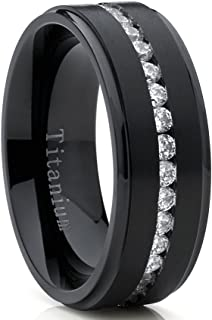 Metal Masters Co. Black Titanium Men's Eternity Wedding Band Ring with Cubic Zirconia CZ, Comfort Fit 8mm