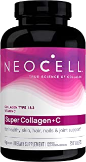 NeoCell Super Collagen with Vitamin C, 250 Collagen Pills, #1 Collagen Tablet Brand, Non-GMO, Grass Fed, Gluten Free, Coll...