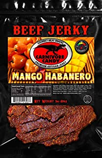 Carnivore Candy Mango Habanero BUY 2 Bags and Get 1 FREE. 3 bags of 3 oz. Gourmet Premium Beef Jerky as seen on SHARK TANK by Carnivore Candy. It's a delicious meat snack!