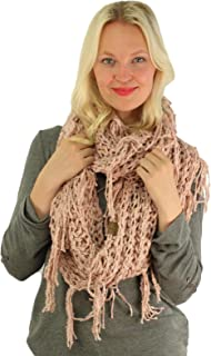 Winter CC Soft Chenille Net Tassle Fringe Thick Knit Infinity Scarf Wrap