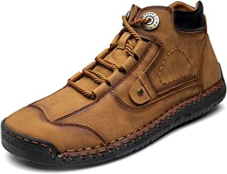 UKAP Bottes en caoutchouc pour homme - Bottes hautes - Desert - Bottes de randonnée courtes - Cuir - Antidérapantes