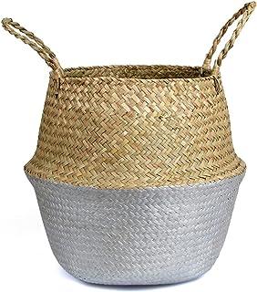 Panier de rangement Panier de rangement d'algues doré blanchisserie panier naturel rotin fleur panier de paille jouet pail...