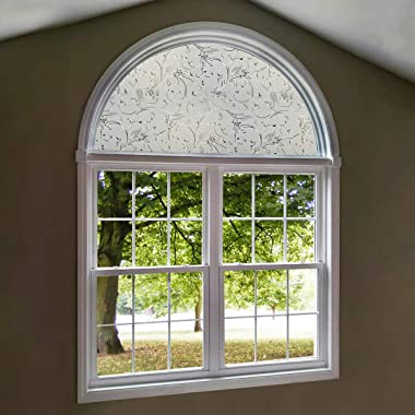 AUTOTECH PARK Precut Custom Arched Window Film, Elegant Flower Design, up to 64 inches Diameter and 33 inches Height