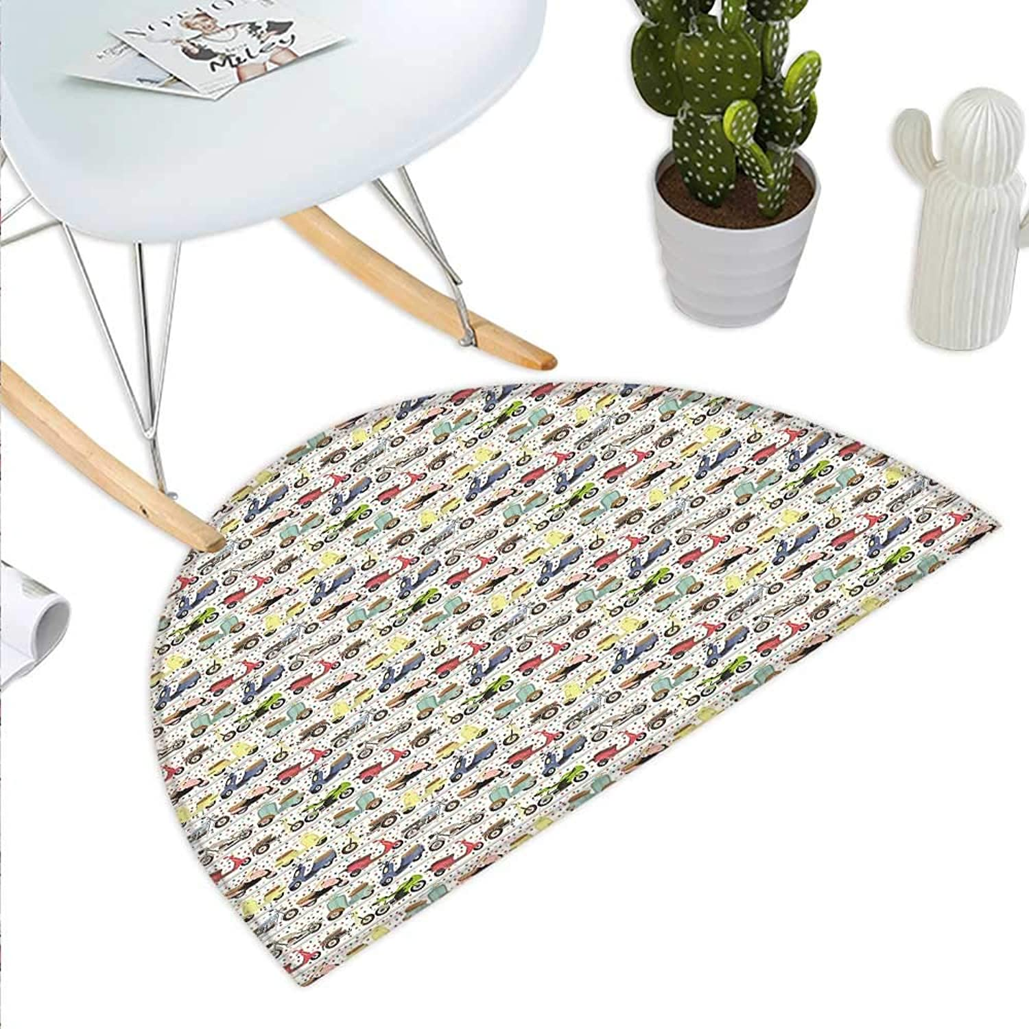 Motorcycle Semicircle Doormat Vintage Multicolord Motorcycles Old and Modern and Lively Spots in Background Halfmoon doormats H 35.4  xD 53.1  Multicolor