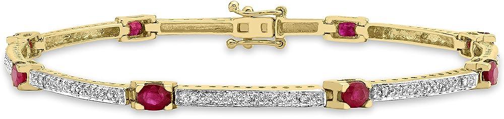 Carissima gold, bracciale per donna, in oro giallo 9k (375)(6 gr), con rubini diamanti 1.28.772R