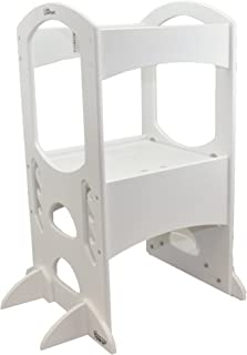 Little Partners' Kids Learning Tower – Child Kitchen Helper Adjustable Height Step Stool, Wooden Frame, Counter Step-Up Active Standing Tower (Soft White)