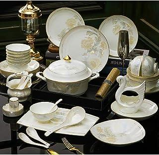 MMFXUE Sets de Table 60 pièces de Vaisselle en Porcelaine Blanche Ivoire , Service de Vaisselle en céramique avec Bols, As...