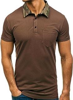 BLTR Men Short Sleeve Polo Shirt Classic Slim Fit Striped Collar Tops