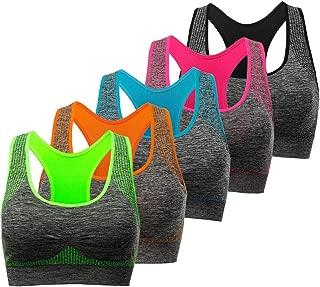 Racerback Sports Bra - Choose Color & Size - Padded Seamless for Women Pocket Yoga Workout Gym Bras
