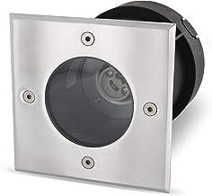 Foco empotrable para suelo GU10 IP67, rectangular, de acero inoxidable/vidrio, hasta 2000 kg